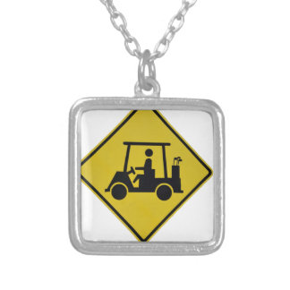 golf-crossing-sign silver plated necklace
