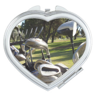 Golf Day Out, Ladies Heart Compact Mirror