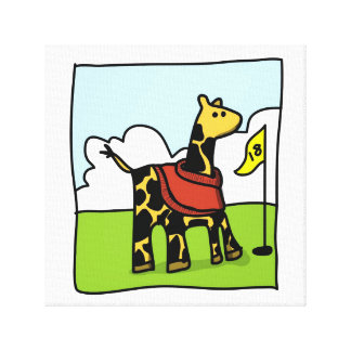 Golf giraffe canvas print