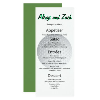 Golf Golfer Sports Lover Tee Time Reception Menu Card