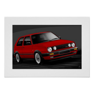 Golf GTI mk2 Poster Illustration
