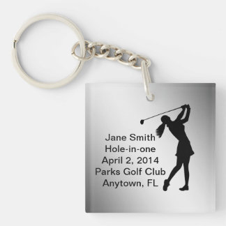 Golf Hole-in-one Commemoration Customizable Double-Sided Square Acrylic Keychain