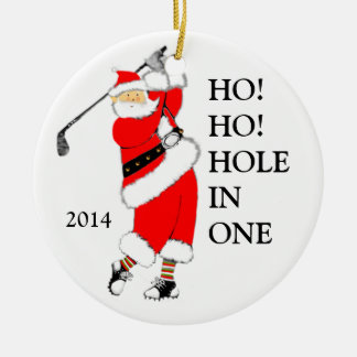 "golf ""Hole In One"" Round Ceramic Ornament"