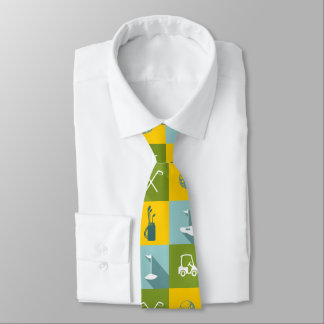 Golf Icons in Gold Green and Blue Squares Tie