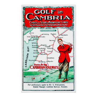 Golf In Cambria - Vintage Railway Poster