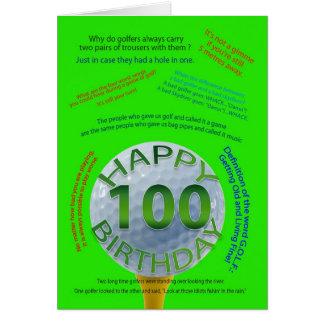 Golf Jokes birthday card for 100 year old