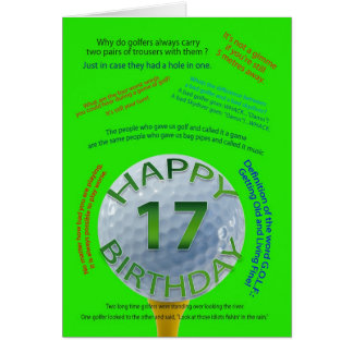 Golf Jokes birthday card for 17 year old
