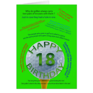 Golf Jokes birthday card for 18 year old