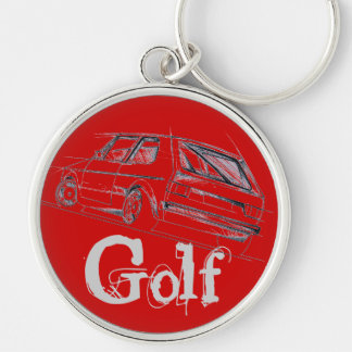 Golf MK I Silver-Colored Round Keychain