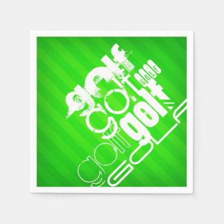 Golf; Neon Green Stripes. Paper Napkins