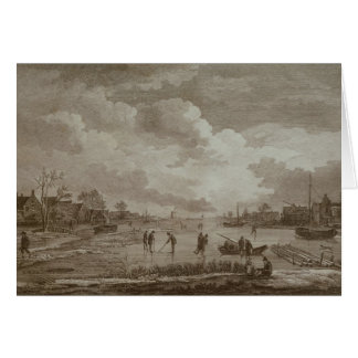 Golf on ice, copperline engraving by Van Dreve Card