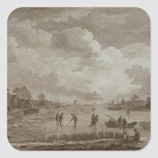 Golf on ice, copperline engraving by Van Dreve Square Sticker