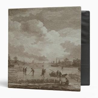 Golf on ice, copperline engraving by Van Dreve Vinyl Binder