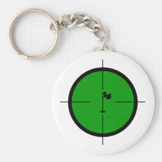 Golf Pin in the Crosshairs Basic Round Button Keychain