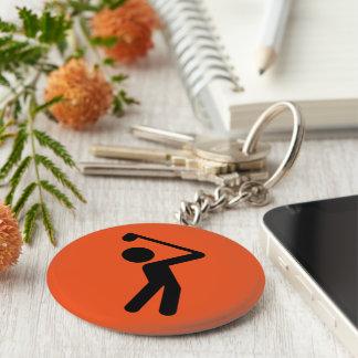 Golf Player Basic Round Button Keychain