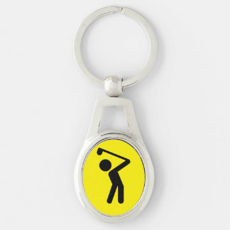 Golf Player Silver-Colored Oval Keychain