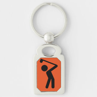 Golf Player Silver-Colored Rectangle Keychain