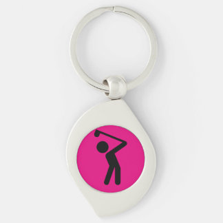 Golf Player Silver-Colored Swirl Keychain
