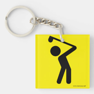 Golf Player Single-Sided Square Acrylic Keychain
