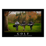 Golf poster featuring three friends walking toward