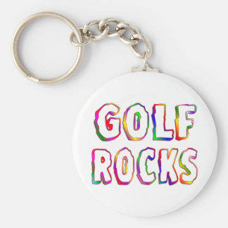 Golf Rocks Basic Round Button Keychain