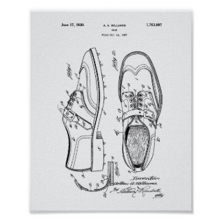 Golf Shoe 1927 Patent Art - White Paper Poster