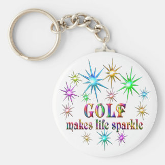 Golf Sparkles Basic Round Button Keychain
