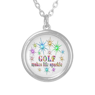 Golf Sparkles Silver Plated Necklace
