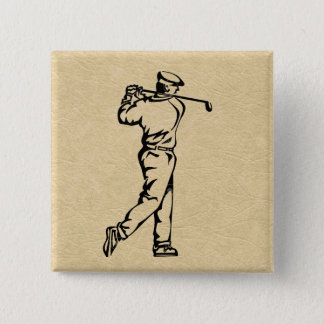 Golf Sports Design on Leather Look 2 Inch Square Button