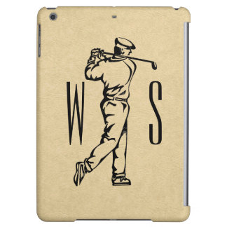 Golf Sports Design on Leather Look iPad Air Covers
