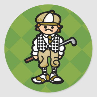 golf STICKer. (see, STICK instead of CLUB. egads) Classic Round Sticker
