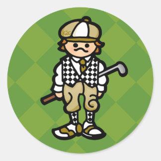 golf STICKer. (see, STICK instead of CLUB. egads) Round Sticker