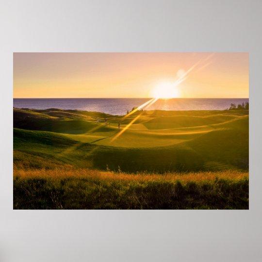 Golf Sunset Poster