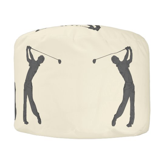 Golf Swinger Customizable Background Pouf