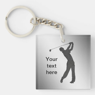 Golf Swinger Customizable Single-Sided Square Acrylic Keychain