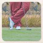 Golf Tee Time Customizable Square Paper Coaster