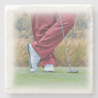 Golf Tee Time Customizable Stone Coaster