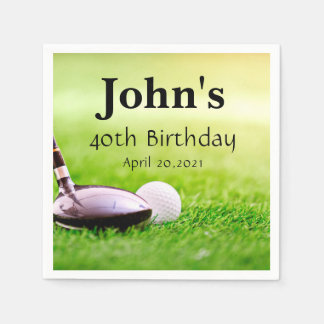 Golf Theme Man's Birthday Personalized Napkin