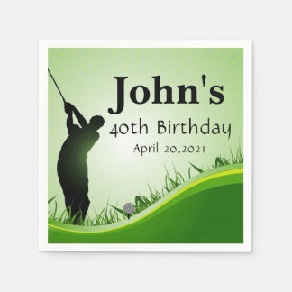 Golf Theme Man's Birthday Personalized Napkin Paper Napkins