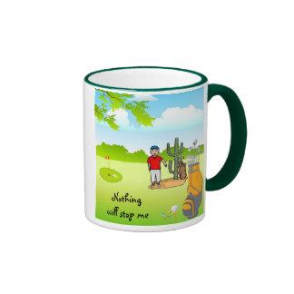 Golf: Today I Will Beat My Handicap Ringer Coffee Mug