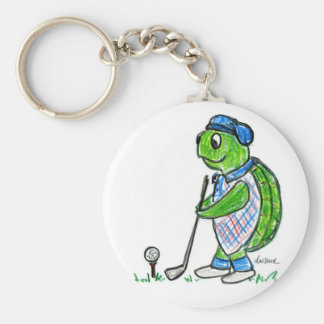 Golf Turtle Basic Round Button Keychain