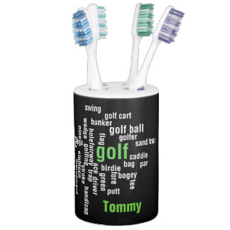 Golf Word Cloud Design Bathroom Products Toothbrush Holder