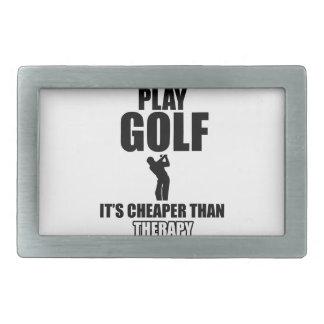 golfer designs rectangular belt buckle