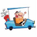Golfer-drives-golf-cart Cut Outs