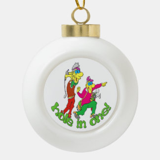 Golfer getting a Hole in one Ceramic Ball Christmas Ornament