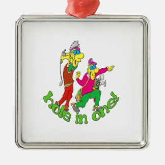 Golfer getting a Hole in one Metal Ornament