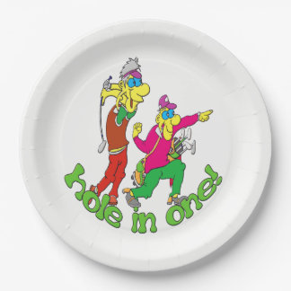 Golfer getting a Hole in one Paper Plate
