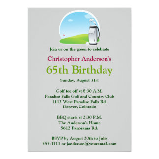 Golfer Golf Golfing 65th Birthday Invitation
