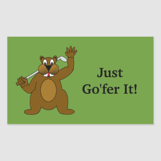 Golfer Gopher Just Go'fer It! Sticker