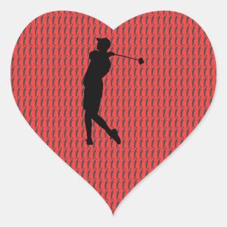 Golfer Heart Sticker